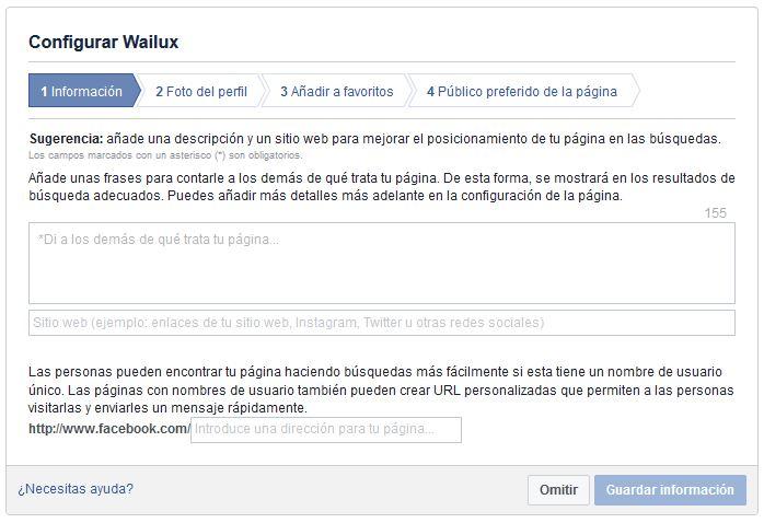 datos crear pagina facebook